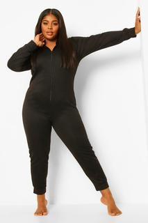 boohoo - Womens Plus Innen Angerauter Loungewear-Onesie Mit Kapuze - Schwarz - 46, Schwarz