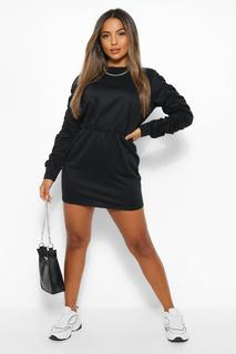 boohoo - Womens Petite Sweat-Kleid Mit Gerüschtem Arm - Schwarz - 34, Schwarz