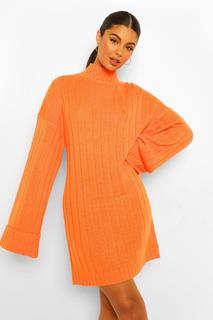 boohoo - Womens Breit Geripptes Pullover Kleid Mit Weiten Ärmeln - Orange - S/M, Orange