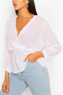 boohoo - Womens Tall Bluse Im Wickeldesign Mit Schößchen - White - 44, White