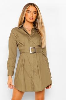 boohoo - Womens T-Shirt-Kleid Mit Gürtel - Khaki - 36, Khaki