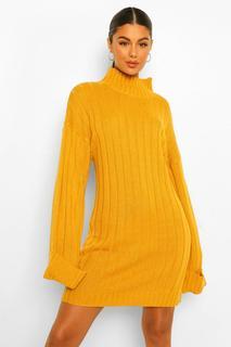 boohoo - Womens Breit Geripptes Pullover Kleid Mit Weiten Ärmeln - Senfgelb - M/L, Senfgelb