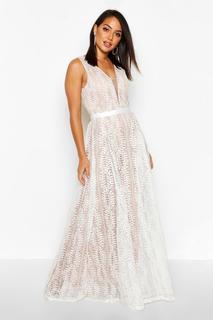 boohoo - Womens Boutique Maxikleid Aus Spitze Mit Tiefem Ausschnitt - Weiß - M, Weiß
