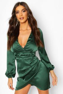 boohoo - Womens Satin-Minikleid Mit Wickeldesign - Emerald - 32, Emerald