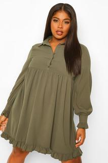 boohoo - Womens Plus Smok-Blusenkleid Mit Rüschensaum - Khaki - 48, Khaki