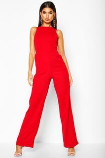 boohoo - Womens Strukturierter Jumpsuit Mit Rundem Ausschnitt - Rot - 34, Rot