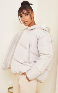 PrettyLittleThing - Sand Hooded Padded Puffer Jacket, Sand