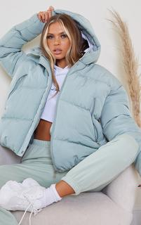 PrettyLittleThing - Mint Hooded Padded Puffer Jacket, Green