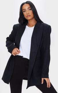 PrettyLittleThing - Black Wool Look Oversized Shoulder Padded Blazer, Black