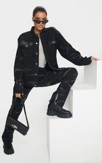 PrettyLittleThing - Black Tie Dye Oversized Denim Boyfriend Jacket, Black
