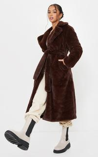 PrettyLittleThing - Petite Chocolate Belted Faux Fur Coat, Chocolate.