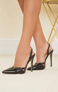 PrettyLittleThing - Black Patent Pu Sling Back Cut Out High Heel Court Shoes, Black