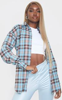 PrettyLittleThing - Tall Blue Checked Oversized Shirt, Blue