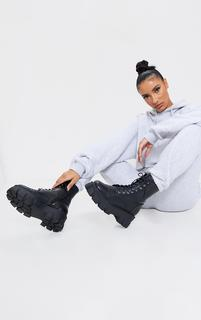 PrettyLittleThing - Black Wide Fit Lace Up Extreme Chunky Hiker Boots, Black