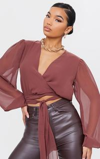 PrettyLittleThing - Chocolate Chiffon Extreme Waist Tie Cropped Blouse, Chocolate