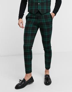 ASOS DESIGN - Extrem enge Anzughose aus Wollmischgewebe mit grünem Schottenmuster