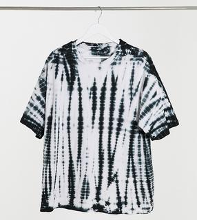 ASOS Tall - ASOS DESIGN Tall– Oversize-T-Shirt mit ausgebleichtem Batikmuster in Schwarzweiß-Mehrfarbig