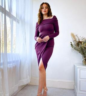 ASOS Tall - ASOS DESIGN Tall – Schulterfreies Midikleid in Aubergine-Violett