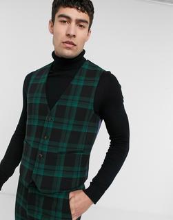 ASOS DESIGN - Extrem enge Anzugweste aus Wollmischgewebe in Grün kariert