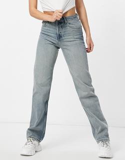 ASOS DESIGN - Jeans im Stil der 90er mit mittelhohem Bund und geradem Schnitt in Vintage-Waschung-Blau