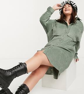 Collusion - Plus – Exklusives Midi-Hemdkleid aus khakifarbenem Cord-Grün