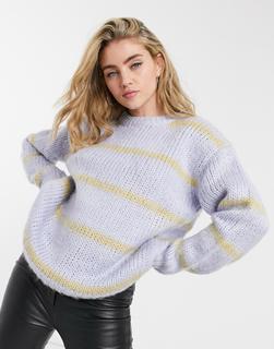 ASOS DESIGN - Flauschiger Oversize-Pullover in Blau und Camel gestreift
