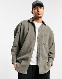 ASOS DESIGN - Voluminöse Fleece-Hemdjacke in Grau