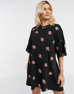 ASOS DESIGN - Oversized T-Shirt-Kleid, durchgehend mit Blumen bestickt-Schwarz