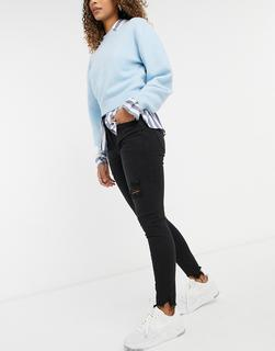 American Eagle - Enge Jeans mit besonders hohem Bund und Zierrissen in Schwarz-Blau