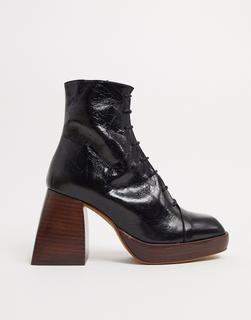 ASOS DESIGN - Robyn – Plateaustiefel aus hochwertigem Leder mit Schnürung in Schwarz