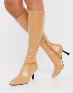 Raid - Sandie – Kniehohe Stiefel mit ausgestelltem Stilettoabsatz in Beige