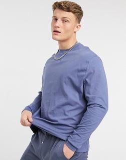 ASOS DESIGN - Langärmliges, locker geschnittenes Shirt mit gerippter Seitenbahn in verwaschenem Blau-Marineblau