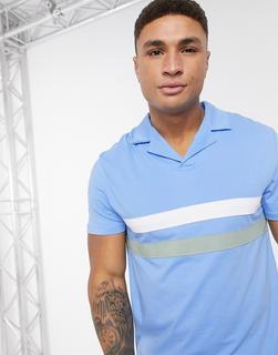 ASOS DESIGN - Polohemd mit Reverskragen und Streifen auf der Brust in Blau