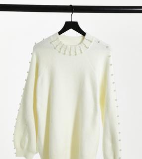 Fashion Union Plus - Lässiger Pullover mit Perlenverzierung-Creme
