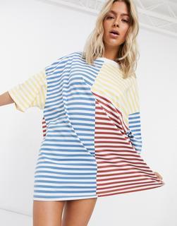 ASOS DESIGN - Oversize-T-Shirt mit Streifendesign-Weiß