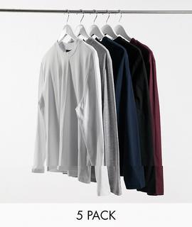ASOS DESIGN - Langärmlige Shirts mit Rundhalsausschnitt im 5er-Pack-Mehrfarbig