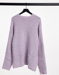 ASOS DESIGN - Grobe Oversize-Strickjacke in Flieder-Violett