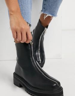 Truffle Collection - Ankle-Boots mit dicker Sohle und Reißverschluss vorne in Schwarz