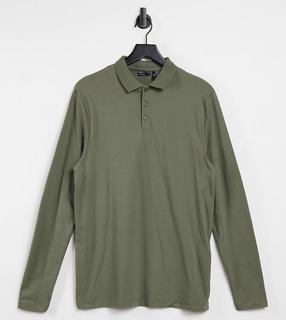 ASOS DESIGN - Tall– Langärmliges Polo-Shirt in Khaki-Grün