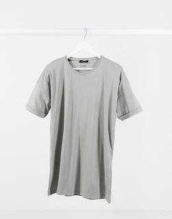 Selected Homme - Locker geschnittenes Oversize-T-Shirt in Khaki-Grün