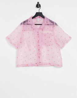 Skinnydip - Organza-Hemd mit süßem Herzchen-Print-Rosa