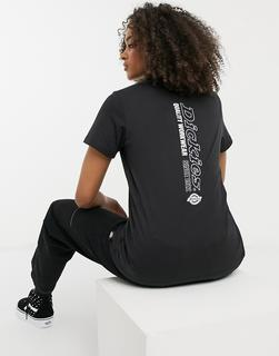 Dickies - T-Shirt mit vertikal verlaufendem Print auf der Rückseite in Schwarz