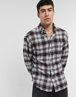 ASOS DESIGN - Kariertes Oversize-Hemd im Stil der 90er aus angerautem Flanell in Schwarz und Rot
