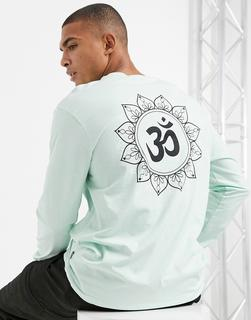 Only & Sons - Lang geschnittenes T-Shirt in Minzgrün mit Oversize-Ärmeln und mystischem Print hinten