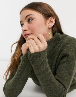 JDY - Pullover mit hohem Kragen in Grün