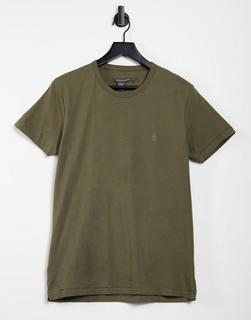 French Connection - T-Shirt mit Logo in Khaki-Grün