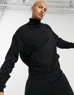 ASOS DESIGN - Oversize-Sweatshirt mit Stehkragen in Schwarz