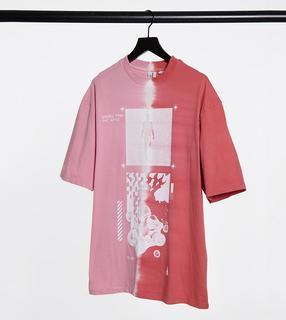 Collusion - Verwaschenes T-Shirt mit rosafarbener Ombre-Waschung und Grafik-Print