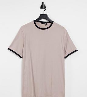 ASOS DESIGN - Tall – T-Shirt in Beige aus Bio-Baumwolle mit Kontrastbesatz