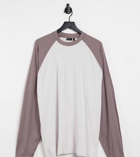 ASOS DESIGN - Tall – Langes Oversize-T-Shirt mit kontrastierenden Ärmeln in Beige und Braun-Mehrfarbig